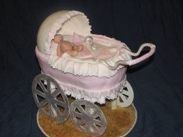 baby pink carriage lace wheels, pram cake