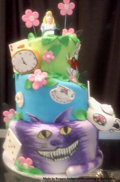 """""""cheshire cat cake"""" """"topsy turvy cake"""" """"tea cake"""" """"flower cake"""""""