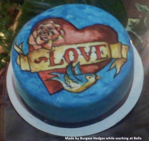 """tattoo cake"" ""ed hardy cake"" ""sailor jerry cake"" ""sparrow cake"" ""heart cake"""