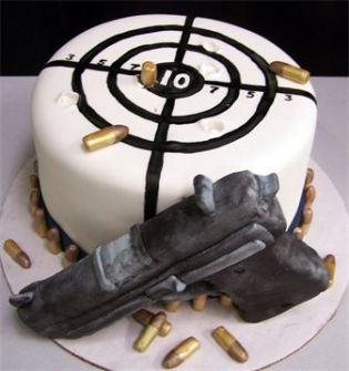 gun, cake, target, range, bullets, caliber, pistol