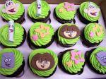Dora the explorer, flowers, map, cartoon, green, cartoon, kids, birthday cupcake