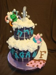 Baby suds, bubbles, bath purple faucet hebrew naming cake