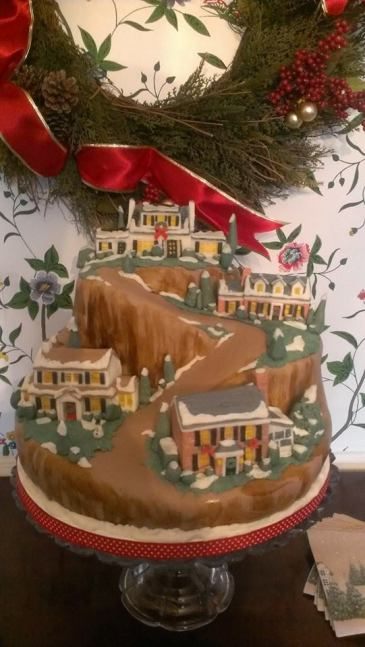 Riverview, Suffolk, VA, Judy Kaye house, winter scene, christmas, holiday, mountain, snow scene, snow, Department 56 cake,
