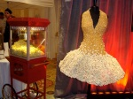 charity, movie, gown, food as art, wearable food, popcorn, evening gown, marilyn monroe, gold