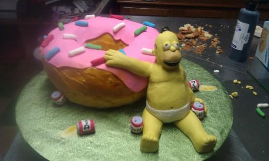 simpsons, homer, pink donut, cake, sprinkles, underwear, belly, beer, duff