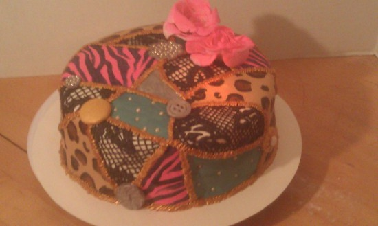 buttons, patchwork, lace, black lace, flowers, fabric, cake, birthday, silver, pink zebra. leopard, gold stitching, quilt