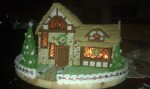 custom gingerbread, unique, proze winning, over the top, thatch, gingerbread, lights, almonds, brick, tudor,m cottage, christmas, tudor, braces, orthodontics, dentist, fence