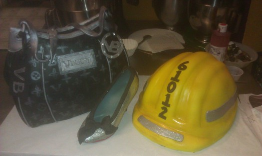 hard hat, designer purse, chocolate shoe, shoe, glitter, black and silver, michael kors, yellow, bow, heel