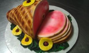 Ham, glazed, sliced, pineapple, cherry, cake, kale, pink, smithfield, virginia, smoked, cured