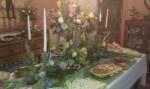 buffet, spring, woodland, flowers, logs, moss, tulip, rose, magnolia, sprengeri