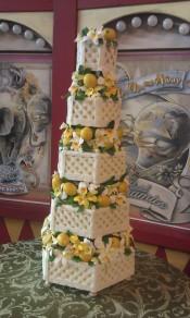 lemon, orchid, garden, lattice, yellow wedding, yello orchid, lemon leaves, lattice, white fence