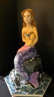 mermaid baby, water, under sea, modeling chocolate, shells, ocean