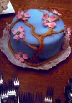porcelain cake dogwood blue pink wedding