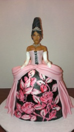 Princess cake, modelling chocolate cake, dragees jewelry, hand painted, white gloves, black proncess, beehive hair, tiara cake