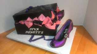 Purple shoe, black box, diva, edible shoe, chocolate shoe, purple and pink